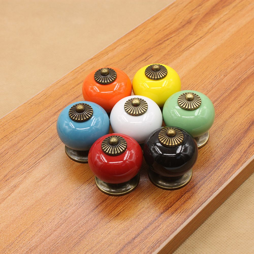 34mm Colourful Round Ceramic Drawer Cabinet Knobs 34x38mm ...